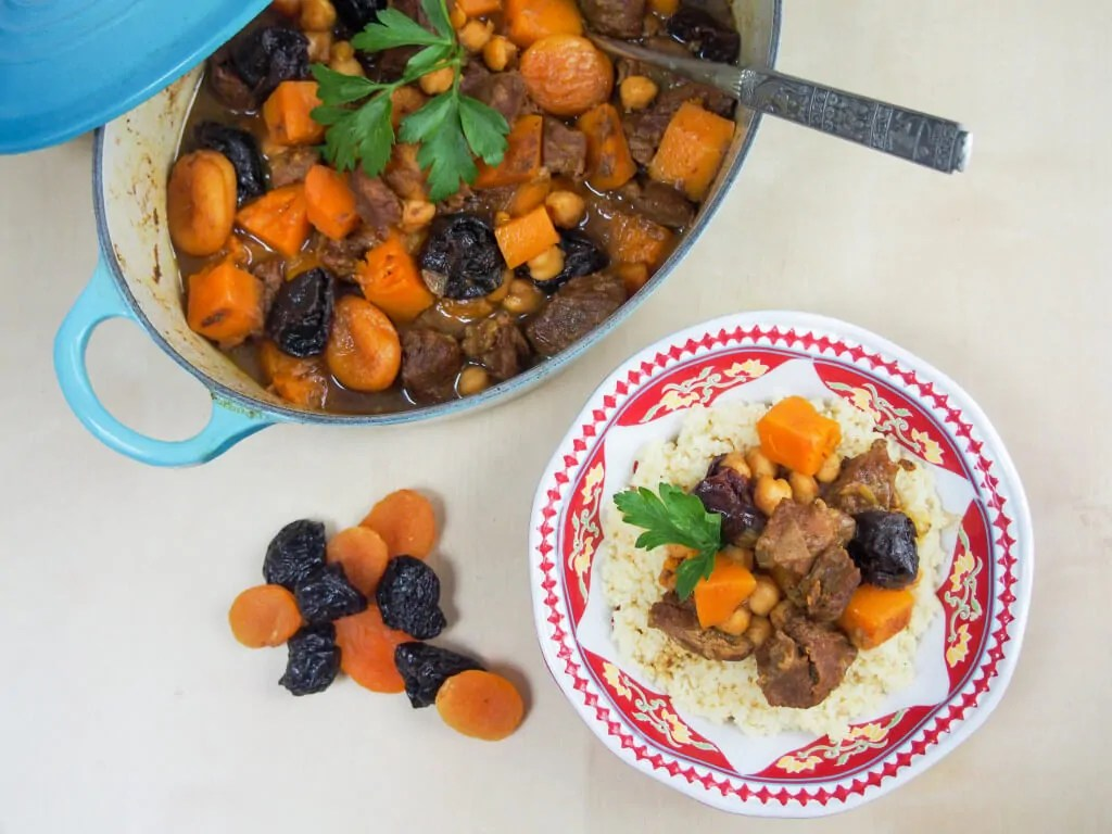 Lamb tagine with apricots, chickpeas and squash