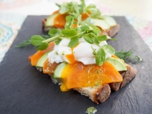 Golden beet and avocado toast with lemon-dill dressing