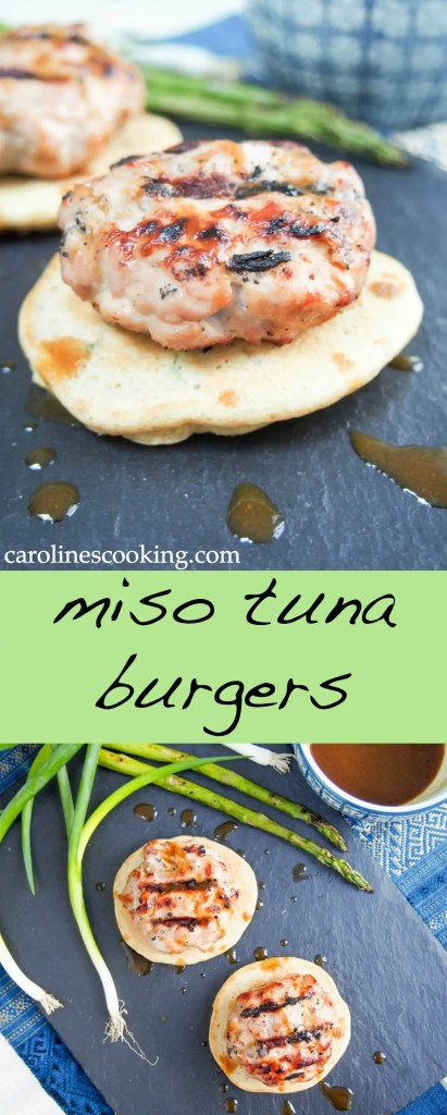These miso tuna burgers are a delicious combination of fresh tuna lightly seasoned with miso and soy, served on fluffy scallion pancakes with a flavorful wasabi-soy-miso sauce. All so tasty together.