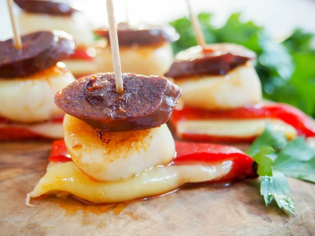 Scallop and chorizo stacks #FishFridayFoodies