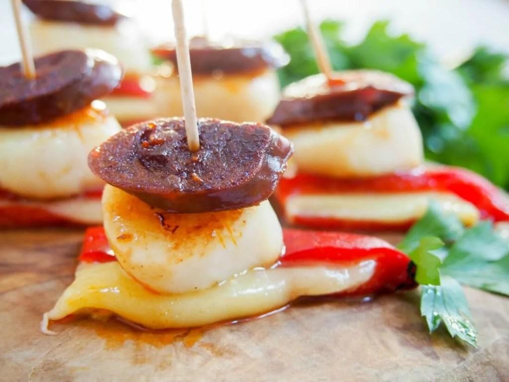 Scallop and chorizo stacks