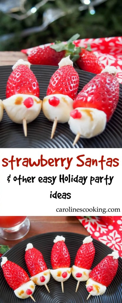 Strawberry Santas are an incredibly easy appetizer- see the video tutorial included to prove it! One of many easy Holiday party ideas + hosting tips.