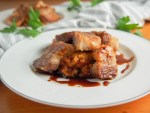 Crisped pork belly with whisky-soy sauce