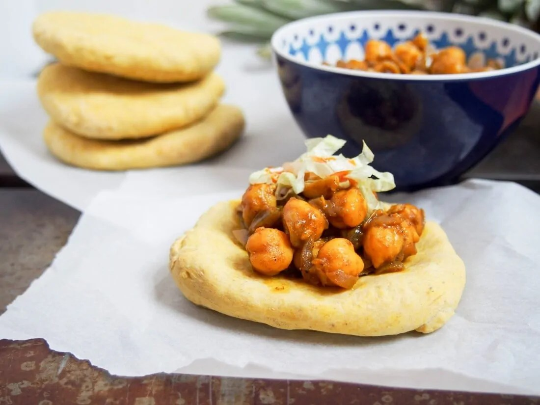 Trinidadian doubles (chickpea curry on spiced flatbread) #SundaySupper