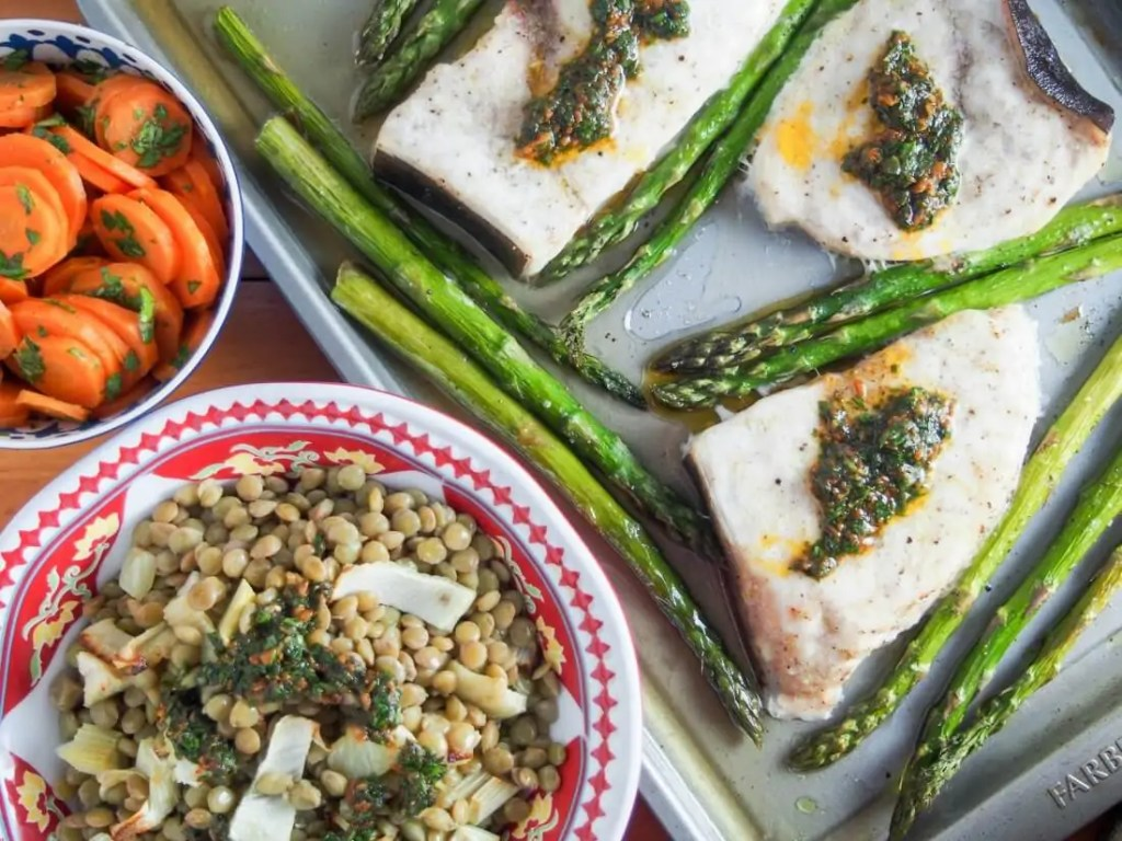 Baked swordfish and asparagus with lentils and chermoula #SundaySupper
