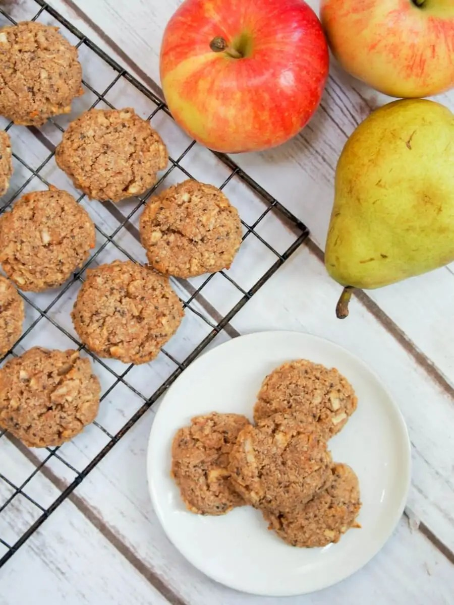 These healthy apple oatmeal cookies are easy to make & packed with good for you ingredients. Soft, flavorful, gluten free & vegan: so many reasons to enjoy! A great anytime snack, whether after school or even breakfast