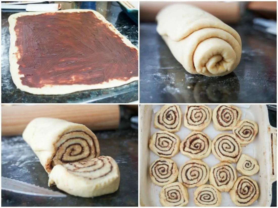 making chocolate orange cinnamon rolls