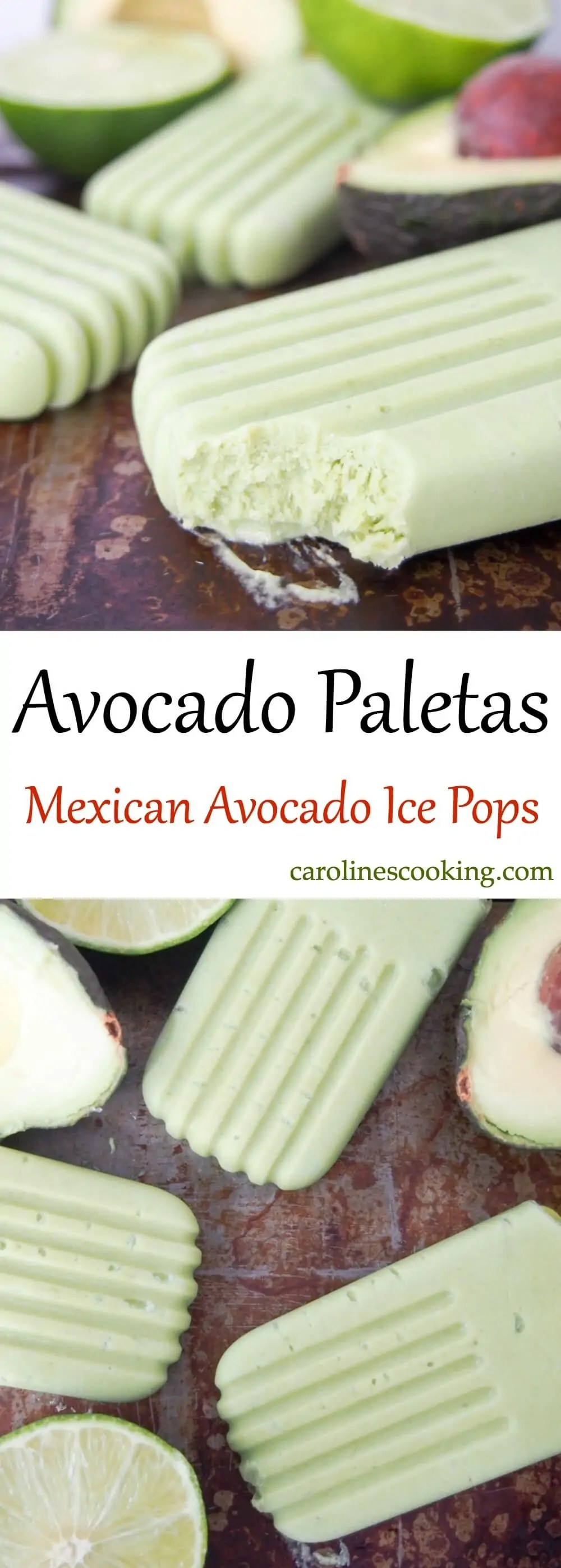 Avocado paletas (Mexican avocado ice pops) are easy to make, healthy & so creamy and tasty. Dairy free & refined sugar free, they're a frozen treat to enjoy guilt-free!