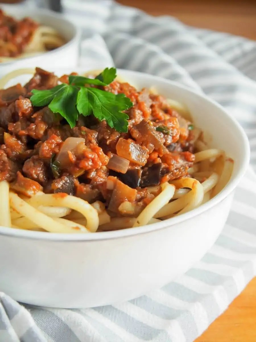 Leftover lamb pasta sauce with eggplant - a comforting, tasty sauce to top pasta that's also a great way to use up leftover roast lamb