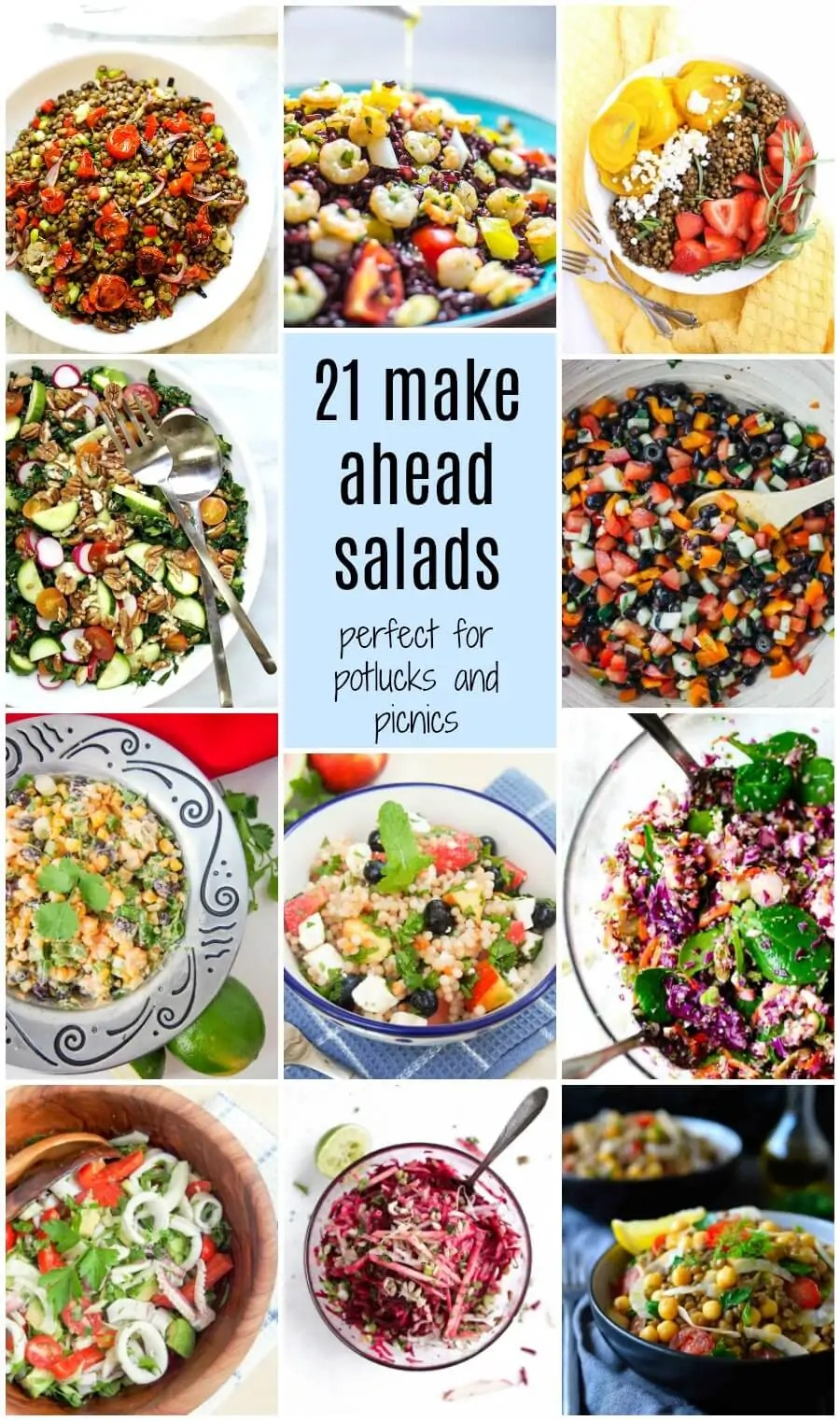 21 make ahead salads perfect for potlucks and picnics: Salads don't have to be limp and boring - this collection of 21 make ahead salads gives ideas perfect for potlucks, picnics and lunches full of color and flavor!