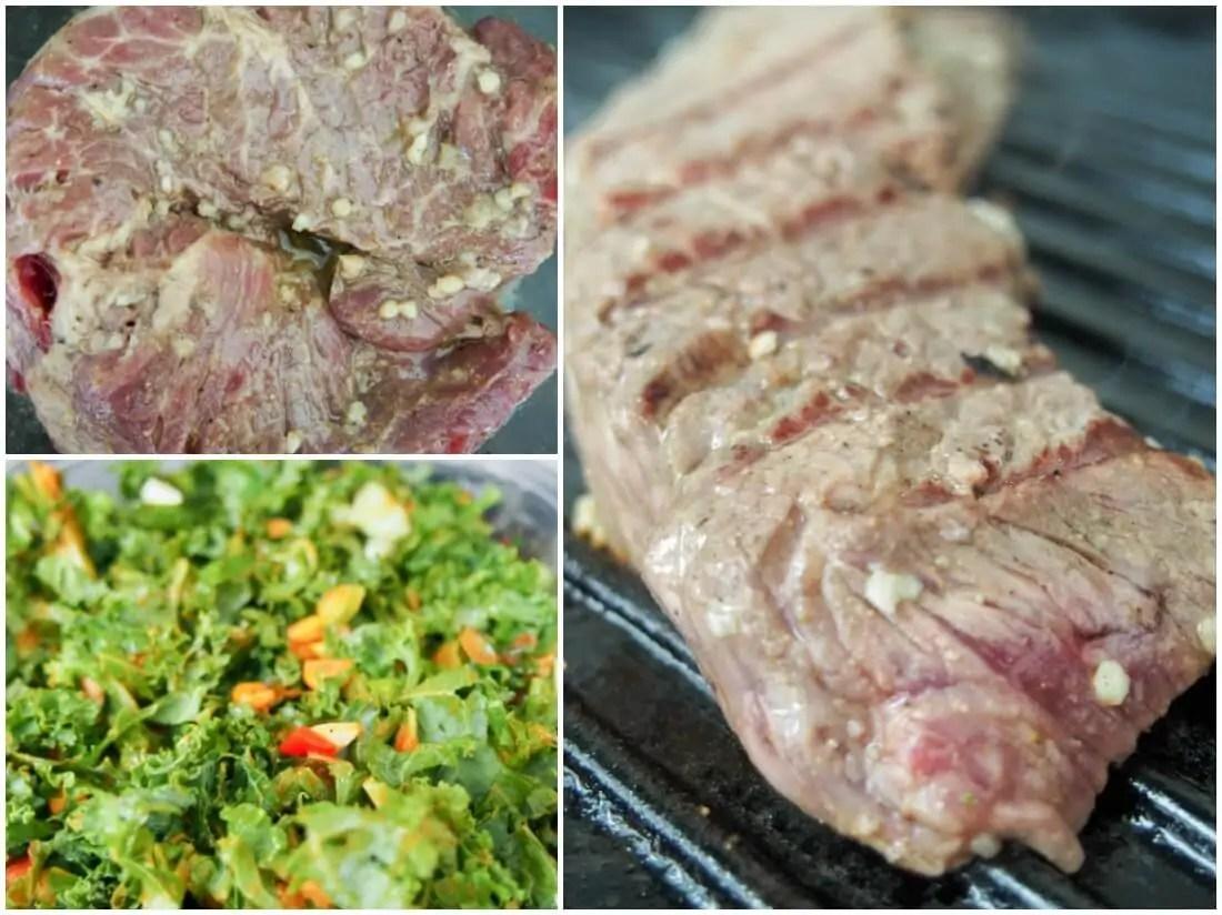 making Southwest steak bowl