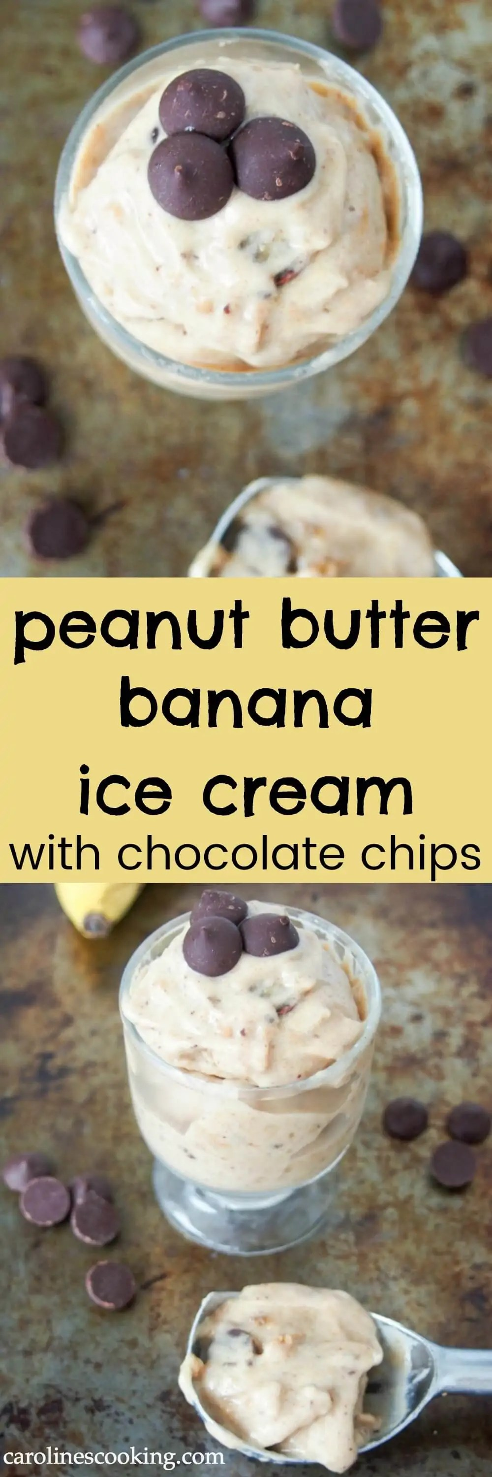 Don't waste those ripe bananas - freeze them to make this peanut butter banana ice cream with chocolate chips in minutes whenever you want it. So good! (vegan too)