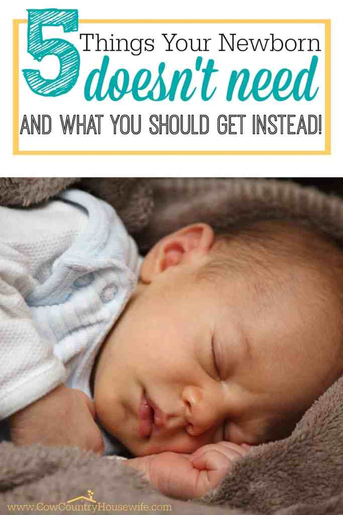 """I don't know about you, but all of the things I """"needed"""" as a first time mom made my head spin and my bank account disappear. All for a pair of shoes that my baby wore ONCE before he outgrew them. Here's a few much more realistic and budget-friendly options to taking out a second mortgage for things your newborn doesn't need!"""