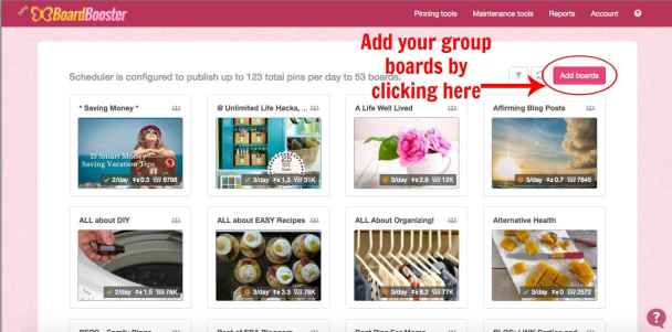 Add your group boards by clicking here