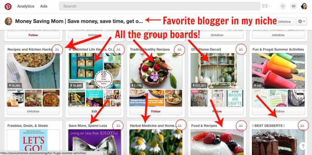 Group boards from favorite pinner