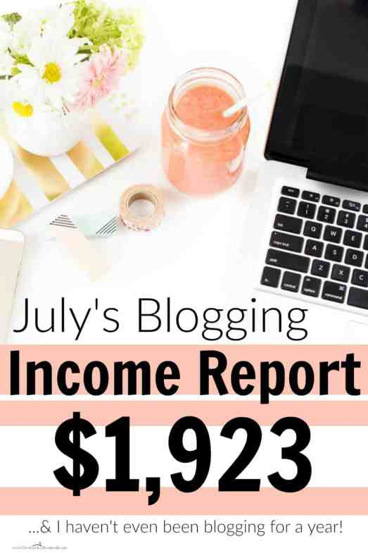 In less than a year of blogging, she made $1,923 last month! I love her blogging income reports!! She breaks down all of her income, expenses, what worked, what didn't and how you can do it too!! July Blogging Income Report: $1,923