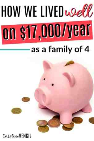This is so inspirational! She shares how her family of 4 lived off of $17,000 each year! Easy ways to save more money. Learn how to save money. How to save on a low income. How to live on a ow income. How to live well on any income. How to live well on a low income. Personal finance tips for a low income. How can a family of four live well on $17,000/year? It's possible and no matter how much income you earn, you can learn a few things that will help you get control of your money. How We Lived Well on $17,000 as a Family of Four. how to live on one income and save money. How to live on one income tips. How to live on one income without debt. How to live on one income and stay out of debt. How to live on one income budget. How to live on one income families. Living on one income tips. Living on one income and save money. Living on one income Dave Ramsey. One income family.  One income budget.  One income living.  One income family budget.  One income family budget tips.