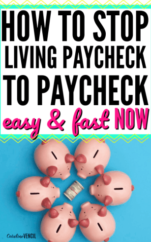 The only easy, simple tips and tricks you need to stop living paycheck to paycheck and start saving money every month for beginners. Find out how to save money autopilot so you can pay off debt and end your paycheck to paycheck life once and for all. Learn how to start saving more money the easy way. #money #savingmoney #paychecktopaycheck #budget