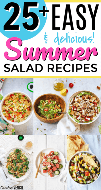 Take a look at these yummy easy Summer Salad Recipes. 25 of the best easy summer salads for you to try this summer that are light and tasty. Easy recipes to bring to the next BBQ or cook out or party over the summer.