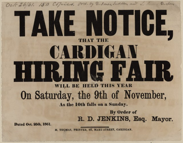 Take_Notice_that_the_Cardigan_Hiring_Fair_1861 Highlighting Historical