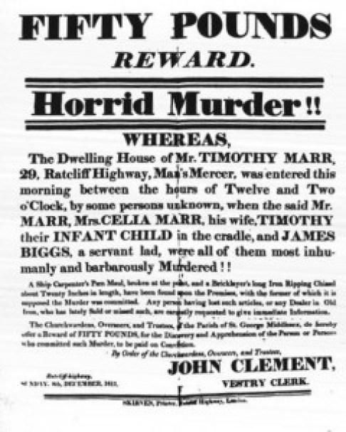 Ratcliffe_Highway_Murders_Reward_poster Highlighting Historical Romance