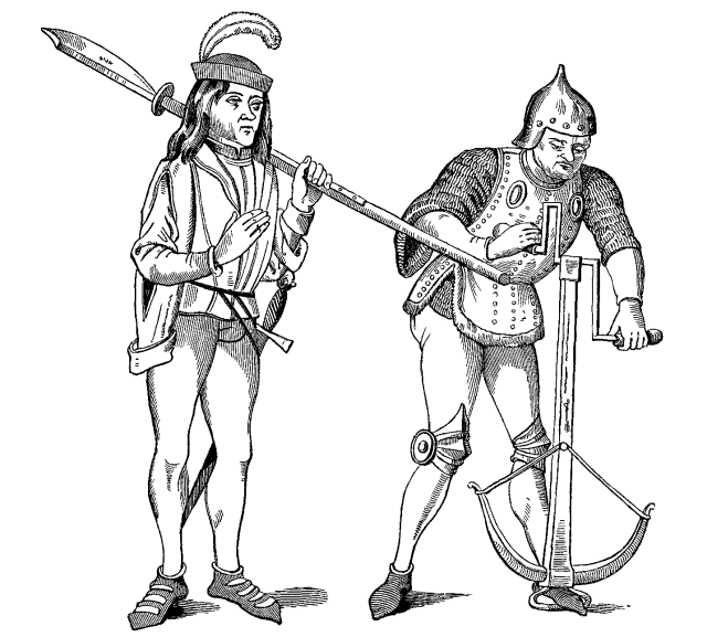 Varlet_or_Squire_carrying_a_Halberd_with_a_thick_Blade_and_Archer_in_Fighting_Dress_drawing_the_String_of_his_Crossbow_with_a_double_handled_Winch Highlighting Historical Romance
