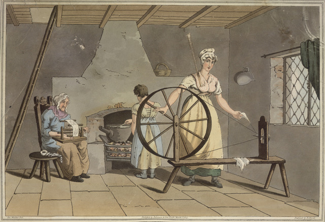 Spinning_and_carding_wool_-_The_costume_of_Yorkshire_1814_plate_XXIX_opposite_69_-_BL Highlighting Historical