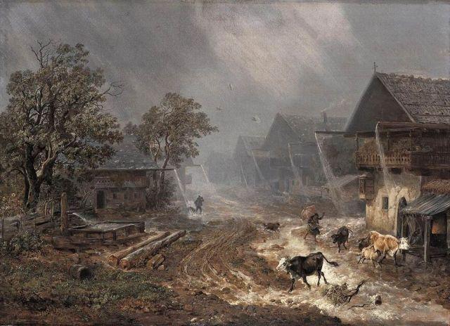 Johann_Heinrich_Bürkel_-_Rain_Shower_in_Partenkirchen_-_WGA03730-copy Caroline's Rambles
