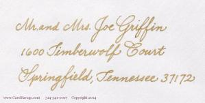 monoline GOLD ink copperplate address