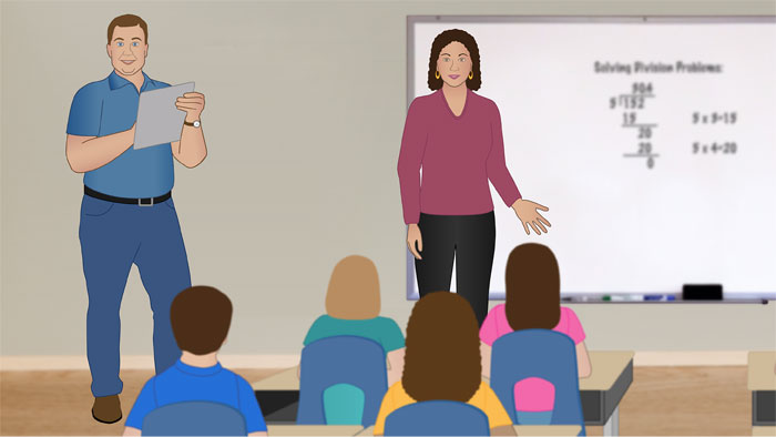 Mr. Adams observes Ms. Brantley in a classroom