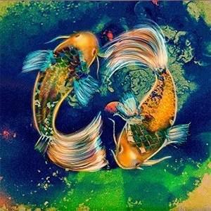 Mixed media artwork of two vividly coloured Koi Karp.