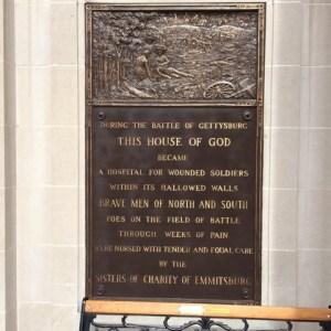 Plaque outside St. Francis Xavier Church, Gettysburg