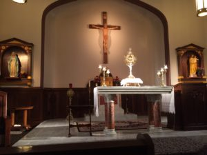 My husband got to spend time in adoration on retreat. We actually argued about this later, just to keep things real for you.