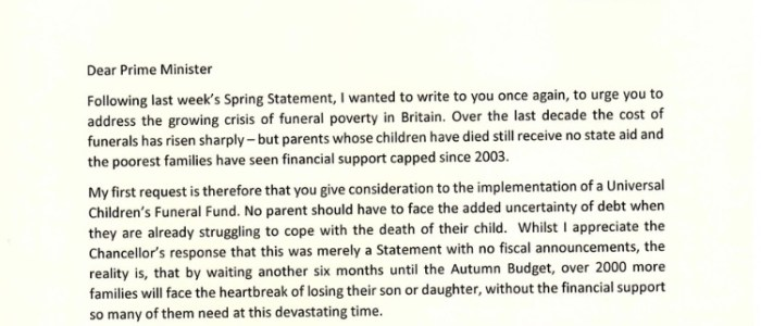 Children's Funeral Fund plea from 90 MPs