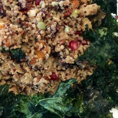Quinoa with Wild Rice, roasted Butternut Squash and Crispy Kale