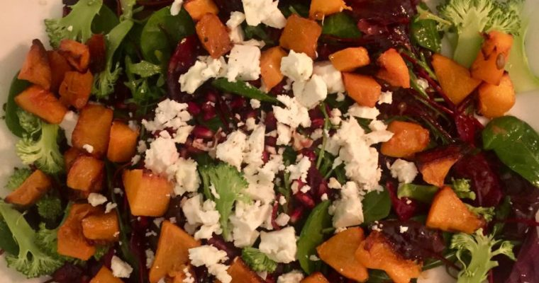 Puy Lentils with Caramelized Onion Chutney, Roasted Butternut Squash, Feta, Pomegranate  and Sliced Broccoli