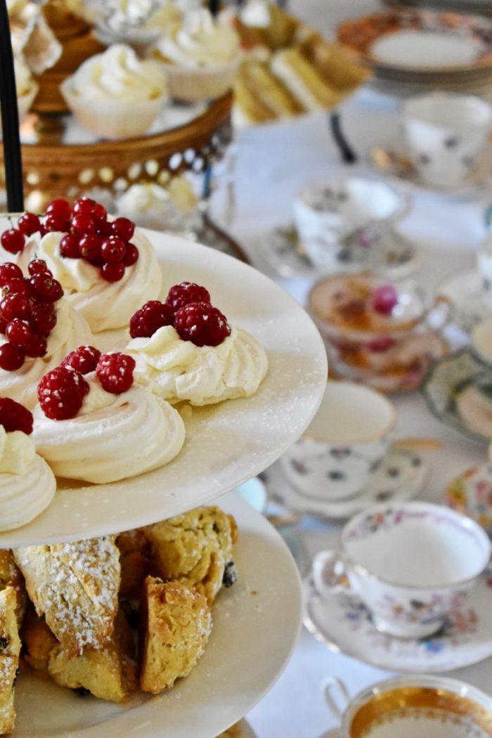 Mini Pavlovas Valentine afternoon tea