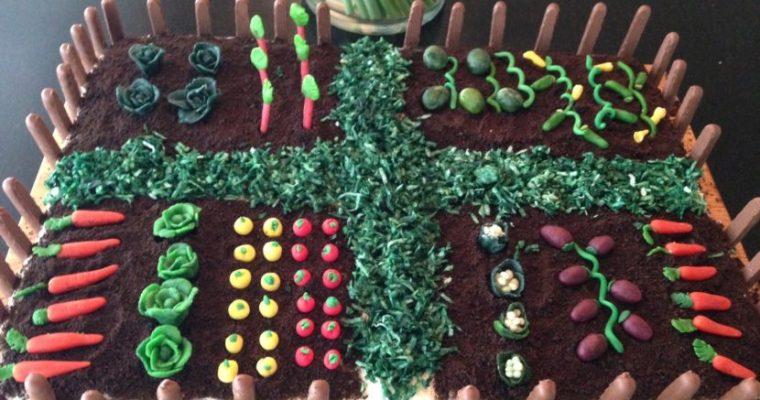 Easter cake with Marzipan Vegetable Garden