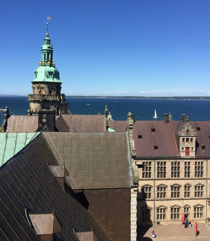 courtyard and views of Sweden at Kronborg