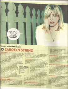 Carolyn Striho by Ben Edmonds of Free Press and Mojo Magazine U.K.