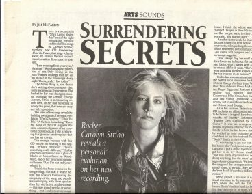 Carolyn Striho - Metro Times article by Jim McFarlin