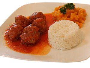 Meatballs Rice and Pumpkin