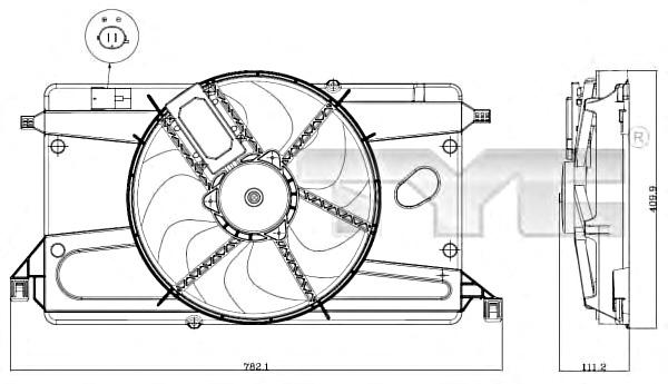 TYC Radiator Condenser Cooling Fan Fits MAZDA 3 Hatchback