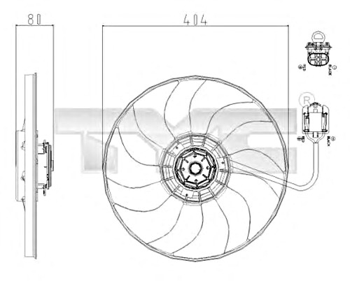 TYC Radiator Condenser Cooling Fan Fits OPEL Astra Sedan