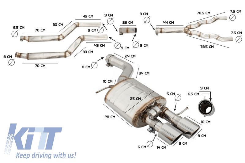 complete exhaust system suitable for bmw 5 series f10 2011 2016 petrol 1 6 2 0 l 520i n2b20 nb20b16 528i nb20b20 turbocharged i4 twin double