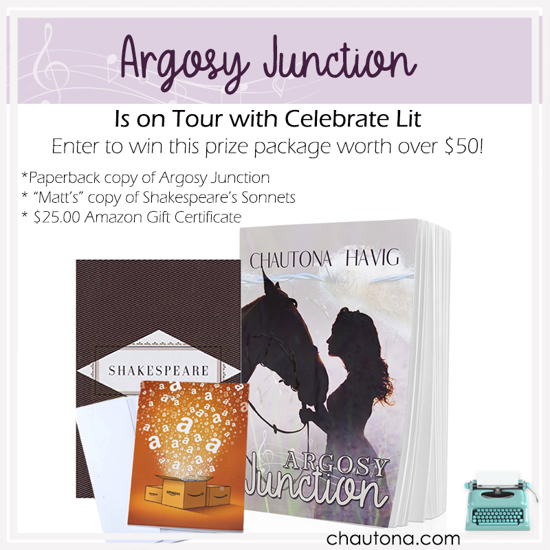 Give Away for Chautona Havig, author of Argosy Junction on tour with Celebrate Lit and featured on CarpeDIem.fyi