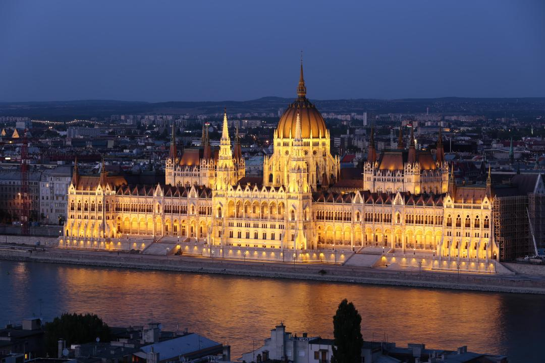 Parliament in the evening in Budapest
