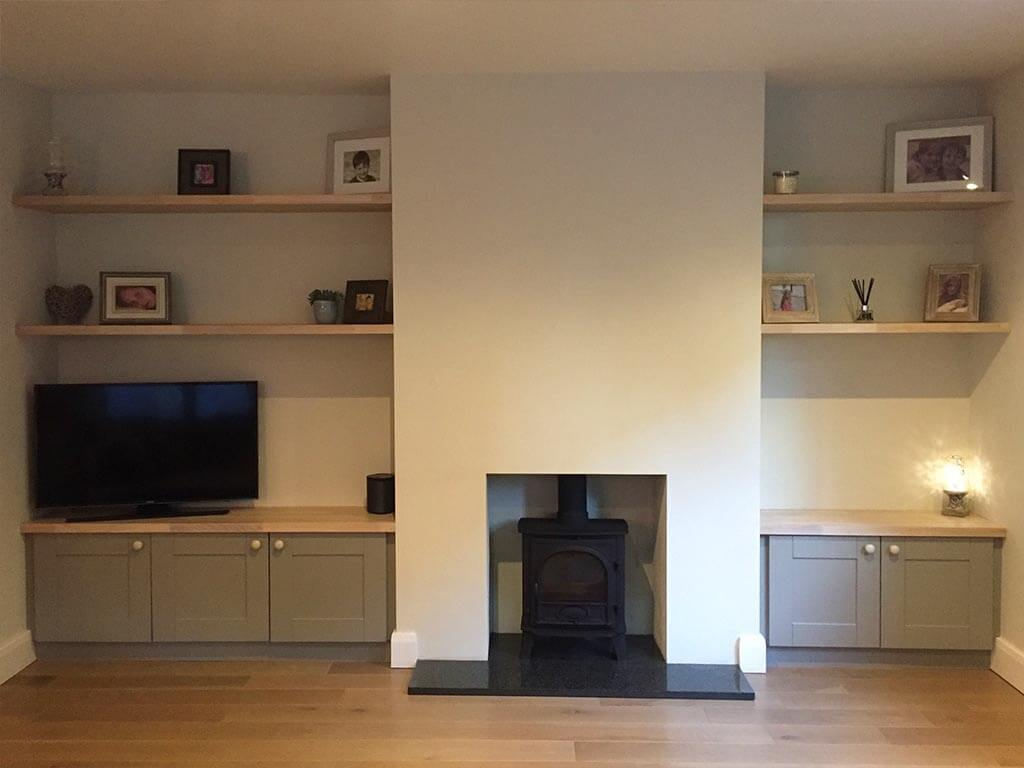 Alcove units with Solid Oak Shelving