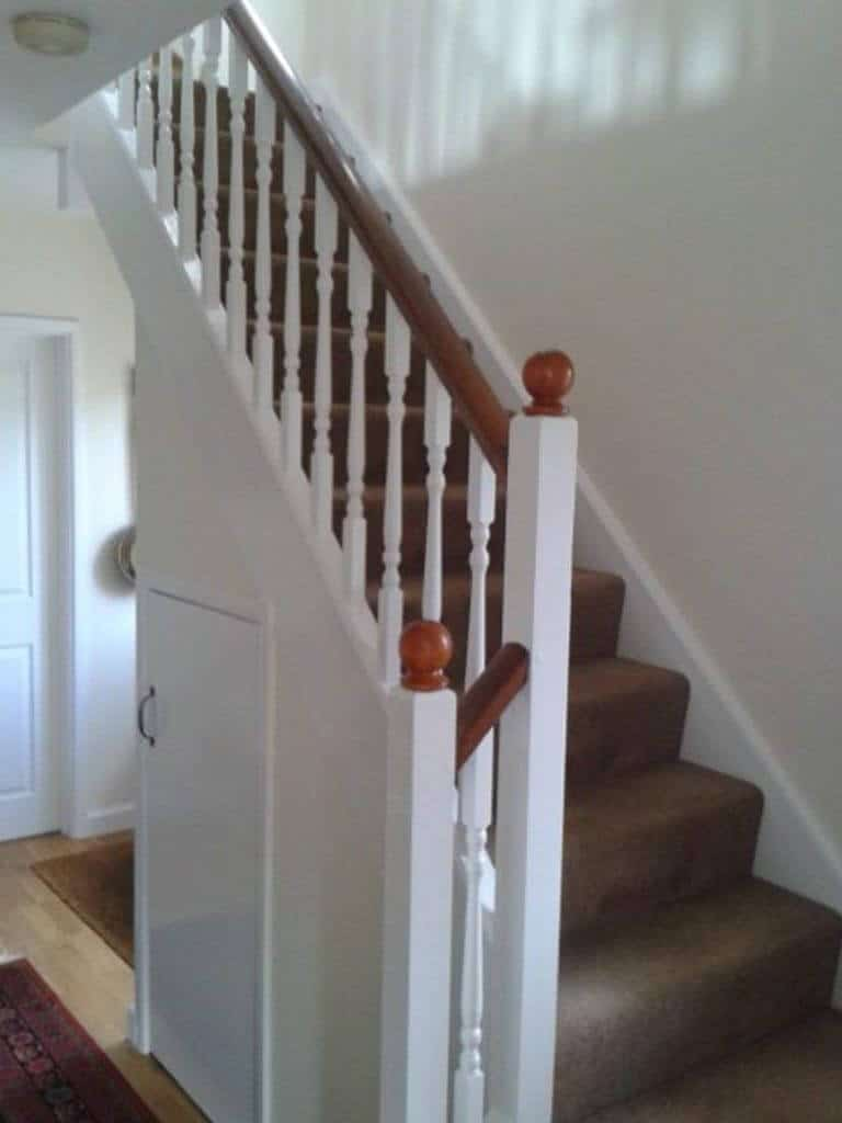 Painted Wood Stairs Spindles and Handrails