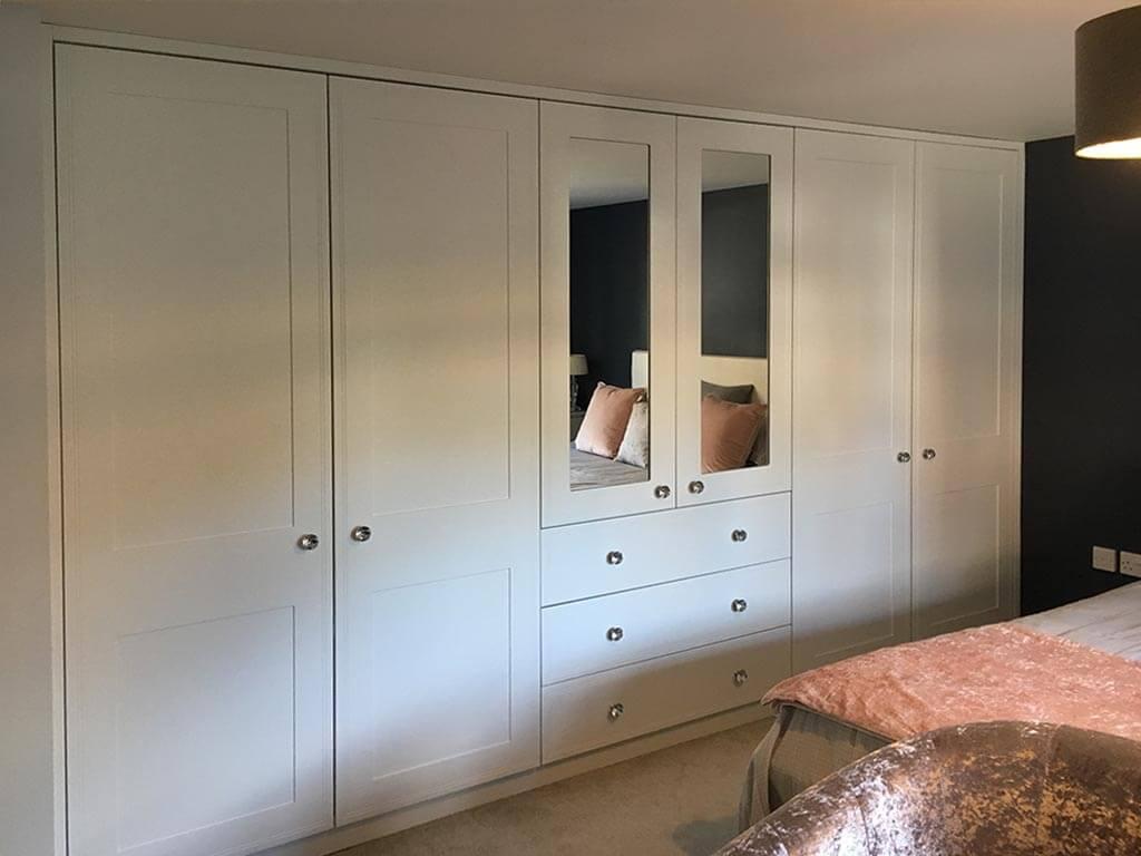 Satin white & mirror wardrobes
